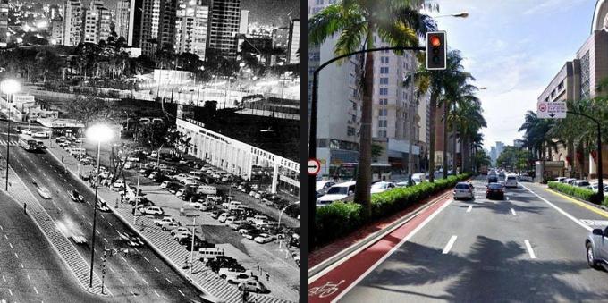 Avenida Faria Lima em dois momentos: 1966 e 2020