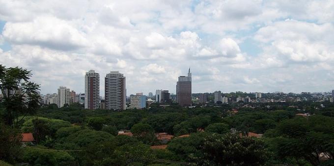 Visão dos prédios de Alto de Pinheiros ao redor de árvores