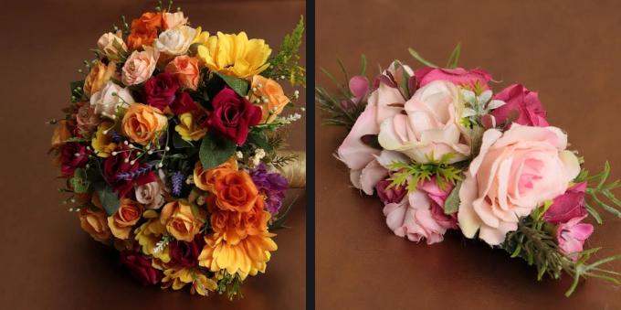 Buquê de noiva e arranjo de rosas do Ateliê de flores, em Alto de Pinheiros