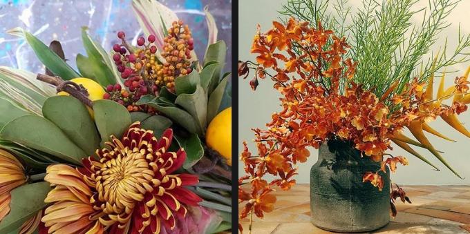Arranjos de flores do Flores para Refugiados, em Alto de Pinheiros
