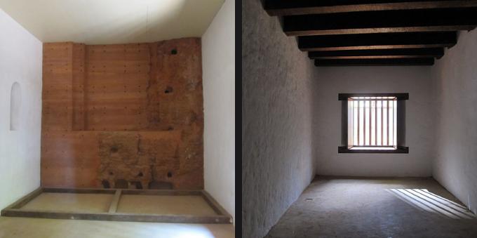 Ambiente da capela e cômodo com acabamento rústico carioca, na Casa Bandeirantes do Itaim Bibi