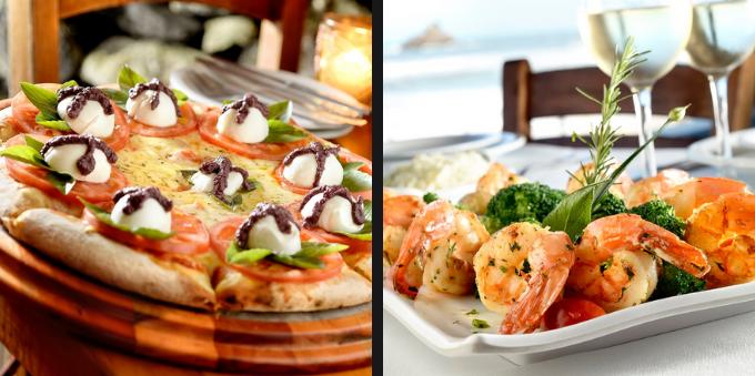 Pizza e frutos do mar, no Litoral Norte