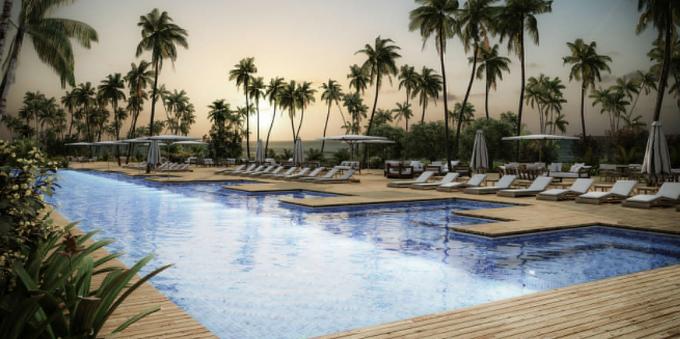 Perspectiva 3D de piscina em hotel de Trancoso