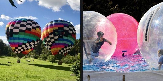 Passeio de balão e bolas infláveis em Campos do Jordão